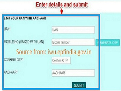 Link your UAN with Aadhaar at iwe.epfindia.gov.in/eKYC Using Biometric/ OTP